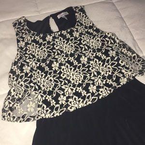 Dresses - black and white sleeveless dress